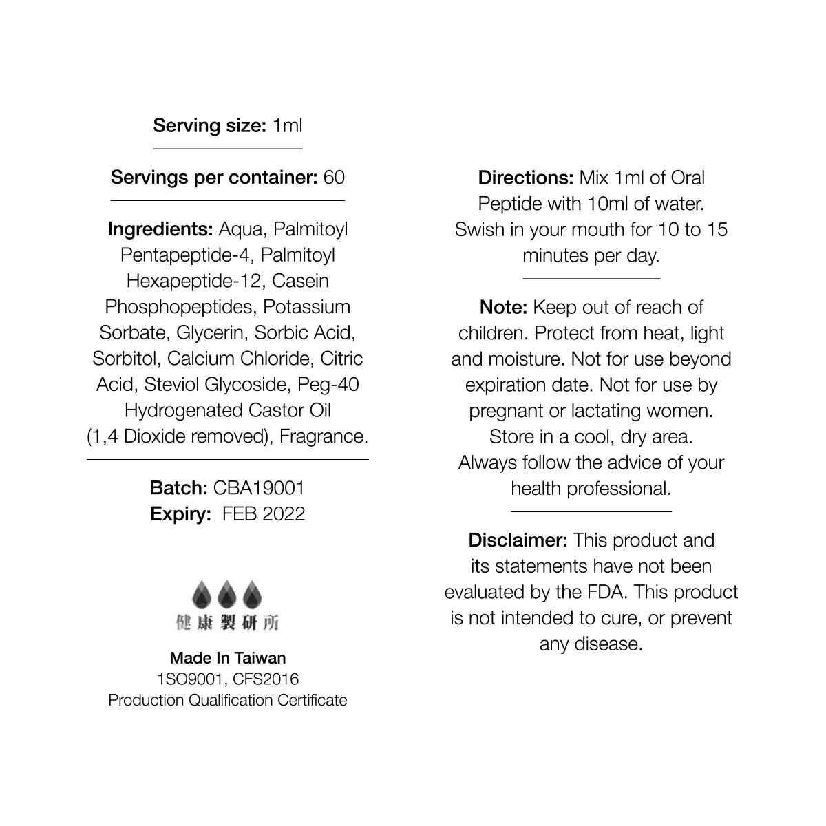 Oraltide-Pro™Mouthwash Label & Ingredients